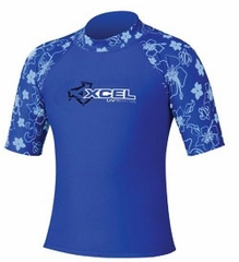 XCEL Kid's UPF 50+ Short Sleeve Rashguard - Royal Blue