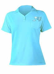 XCEL Women's Bamboo Ventex Short Sleeve UPF 30+ Polo - Blue