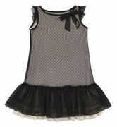 Monnalisa Black Lace 2-in-1 Dress