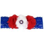 Patriotic Flowers Lace Headband