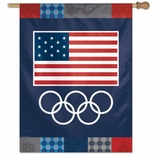USOC Olympic Rings Vertical Flag