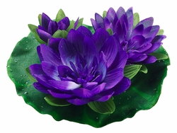 1/2 Dozen (6) - 9 inch Artificial Floating Lotus With Waterdrop 2 Flowers & 1 Bud in Purple