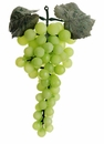 "1 Dozen (12) - 9"" Artificial Grape Bunch With Leaves - Shown in Green"