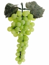 """1 Dozen (12) - 9"""" Artificial Grape Bunch With Leaves - Shown in Green"""