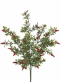 1 Dozen - 15 inch Mini Artificial Chili Bush x 5 in Red