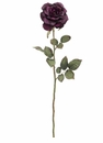 "1 Dozen - 28"" Artificial Silk Margaret Rose Spray / Stem - Eggplant"
