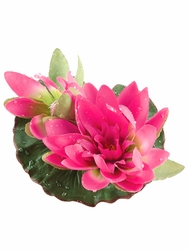 1 Dozen - 4 inch Artificial Floating Lotus With Waterdrop 1 Flower & 1 Bud in Lavender/Fuschia