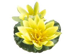 1 Dozen - 4 inch Artificial Floating Lotus With Waterdrop 1 Flower & 1 Bud in Yellow