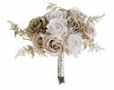 "10"" Artificial Vintage Rose and Fern Bouquet x 12 Silk Flowers - Set of 4"