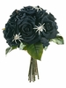 "11.5"" Artificial Velvet Black Rose Bouquet Flower Arrangement - Set of 3"