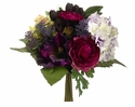 "11"" Silk Rose Flowers and Artificial Hydrangea Bush Wedding Bouquet  - Set of 6"