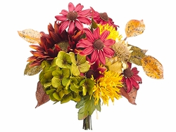 "12.5"" Silk Hydrangea, Sunflower and Artificial Artichoke Bouquet Arrangement - Set of 6"