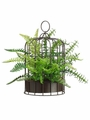 "12"" Artificial  Boston and Lace Mixed Fern Plant in Birdcage - Set of 2"