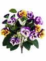 "12"" Artificial Silk Mixed Colored Pansy Bush - Set of 12 (Shown in Purple/Yellow)"