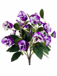 """12"""" Artificial Silk Mixed Colored Pansy Bush - Set of 12"""