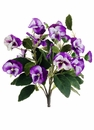 "12"" Artificial Silk Mixed Colored Pansy Bush - Set of 12"
