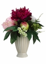 "12"" Silk Peony Flowers and Artificial Ferns in Ceramic Antique Vase"