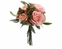 "12"" Silk Rose and Artificial Viburnum Berry Bouquet - Set of 6 (Shown in Pink)"