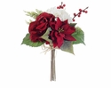 "12"" Silk Rose, Poinsettia, Hydrangea and artificial  Berry Bouquet - Set of 12"