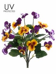 "12"" UV Protected Artificial Pansy Bush - Set of 12"