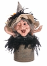 """12"""" Witch's Head in Tin Pot Halloween Decoration"""