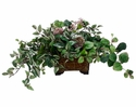"13"" Artificial Wandering Jew, Peperomia Bush and Allium Stem Arragement in Metal Container"
