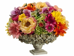 """14"""" Artificial Lily, Silk Rose and Ranunculus Floral Arrangement in Designer Container"""