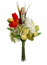 "14"" Artificial Silk Rose, Hydrangea and Tulip Flower Bouquet Arrangement - Set of 12"