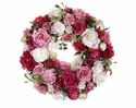 "15.5"" Silk Rose and Skimmia Flower Wreath"