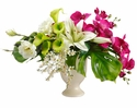 "15"" Artificial Lily, Freesia Flowers and Silk Hydrangea Arrangement in Ceramic Vase"