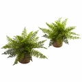 "15"" Artificial Ruffle Fern Bush Plant in Burlap Base Conatiners -Set of 2"