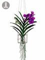 "15"" Silk Vanda Orchid Artificial Hanging Plant in Wire Basket"