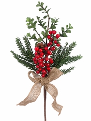 "16"" Artificial Berry, Pine Cone,  and Pine Needle Pick - Set of 12"