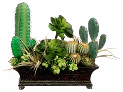 "16"" Artificial Cactus, Succulent and Echeveria in Footed Planter"