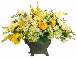 "16"" Silk Freesia, Cosmos and Dahlia Floral Arrangement in Ceramic Container"
