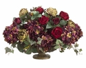 "16"" Silk Rose and Hydrangea Arrangement in Decorative Urn"