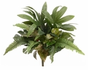 "17.5"" Silk Philodendron, Fern and Potato Leaf Artificial Mixed Bush  - Set of 6"
