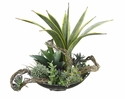 "17"" Artificial Agave Cactus, Sansevieria Plants and Succulents in Oval Plate"