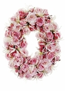 "17"" Artificial Nerine Lily Flower and Silk Rose Oval Wreath"