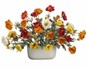 "17"" Artificial Silk Poppy Flowers in Oval Ceramic Container Arrangement"
