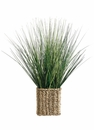 "18"" Artficial Grass in Woven Ledge Basket - Set of 6"