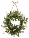 "18"" Artificial Mini Daisy,Astilbeand Fern Wreath with Birdnest - Set of 2 (shown in yellow)"