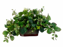 """18"""" Artificial Peperomia and Tea Leaf Ledge Plant in Metal Container"""