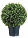 "18"" Artificial Plastic Italian Bay Leaf Ball Topiary Plant in Pot - Set of 2"