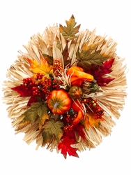 "18"" Artificial Pumpkin/Gourd/Silk Maple Leaves and Corn Husk Centerpiece - Set of 2"