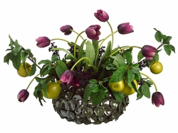 "18"" Artificial Tulip/Apple /Berry Mixed Arrangement in Vase"