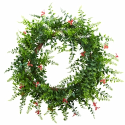 "18"" Floral & Fern Double Ring Wreath w/Twig Base"