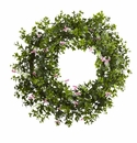 18� Mini Ivy & Floral Double Ring Wreath w/Twig Base