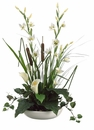 "19"" Artificial Calla Lily/Cattail/Ivy/Grass Arrangement in Ceramic Container"