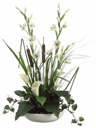 """19"""" Artificial Calla Lily/Cattail/Ivy/Grass Arrangement in Ceramic Container"""